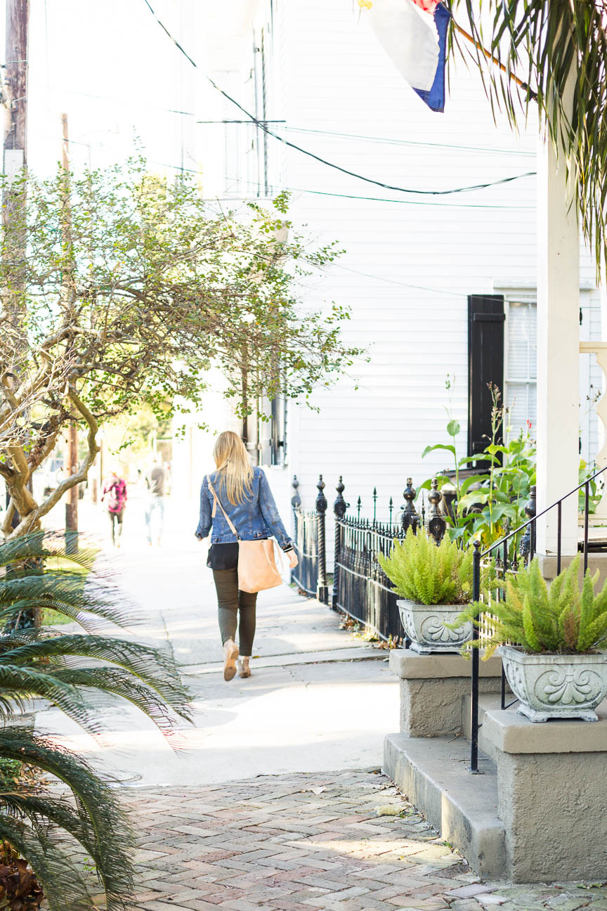 girl walking down New Orleans street