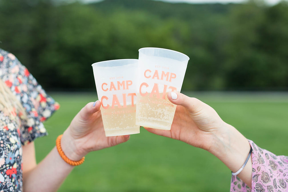 image of custom Camp Cait cups for party