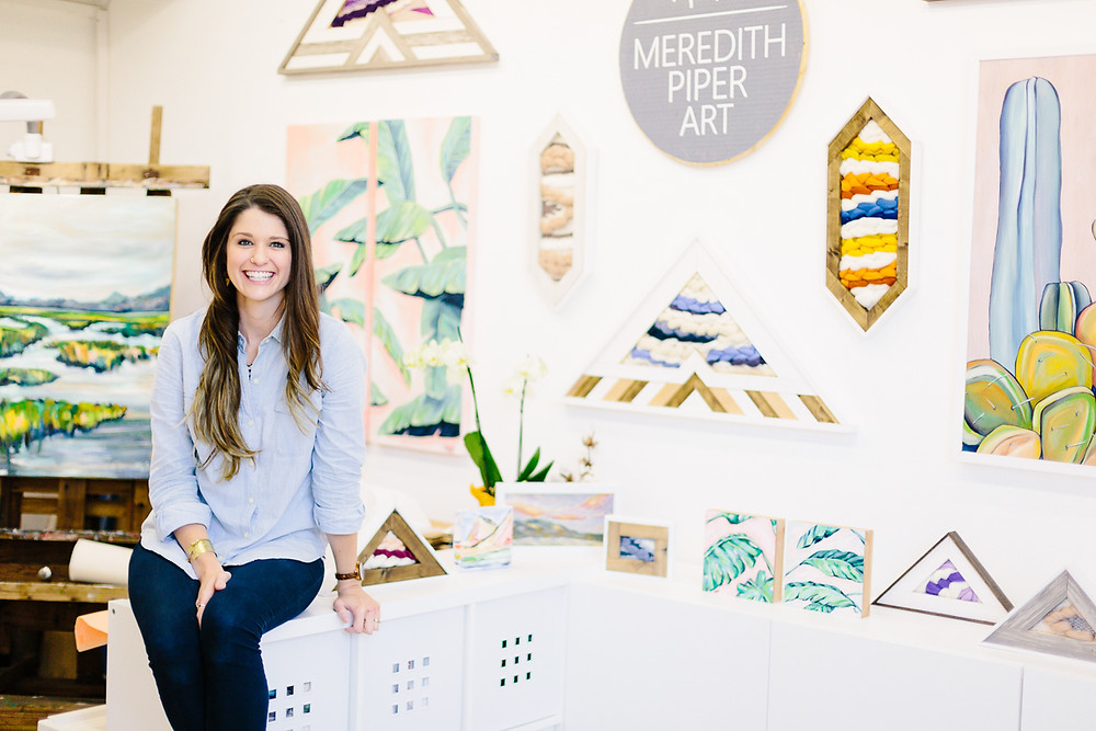 Meredith Piper in her studio, Greenville SC Artist