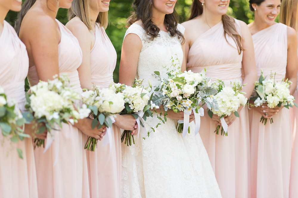bride and bridesmaid bouquets, wedding details