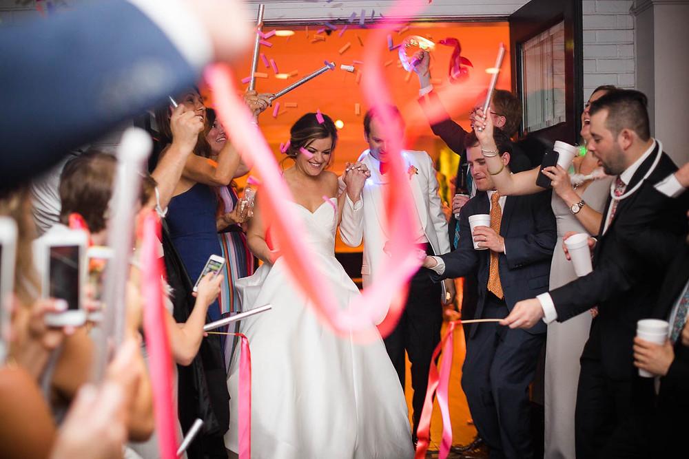image of ribbon wands at a Memphis Wedding