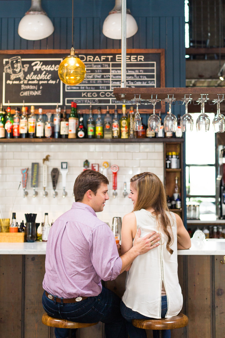 couple at bar, engagement session