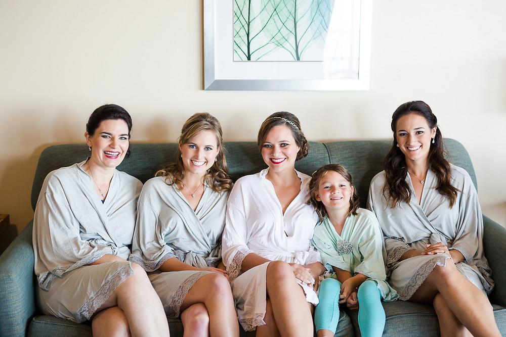 bridesmaids wearing matching robes, destination wedding, southern weddings, wedding photography