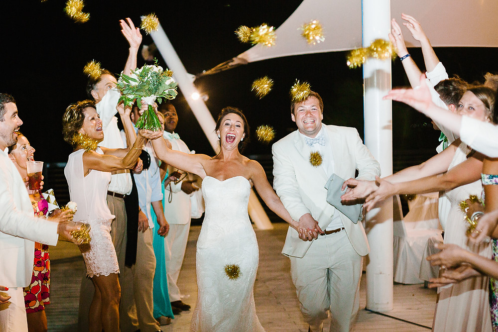 image of newlywed send off at resort wedding in Mexico