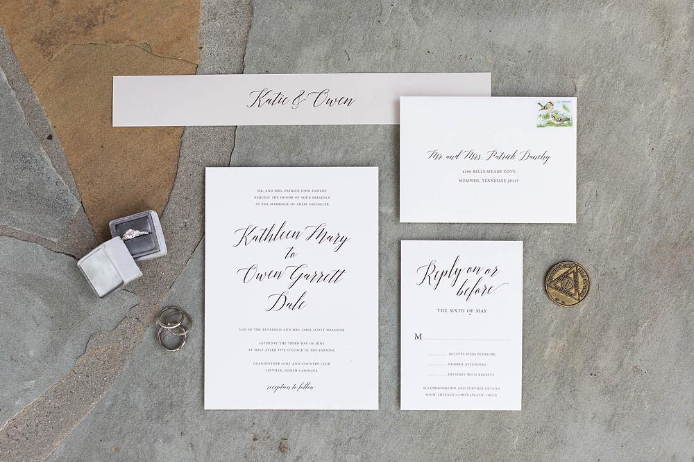 invitation suite for north caroline wedding, rings, Mrs. Box, paper