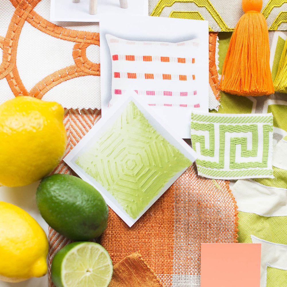 image of orange and green inspiration board from interior designer