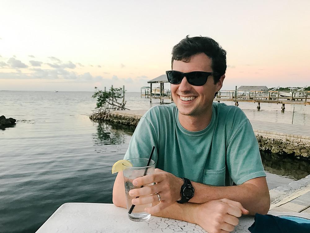 Ned at dinner at Marker 88, Islamorada, FL