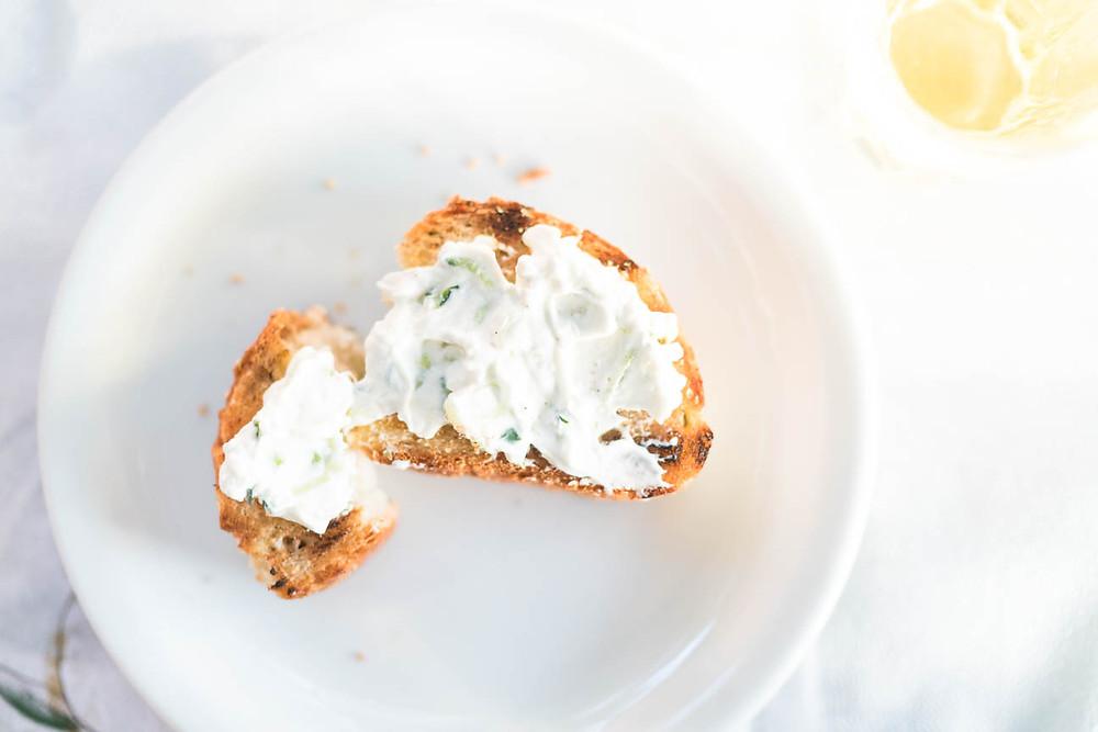 tzaziki on grilled bread, Greek food, food photography