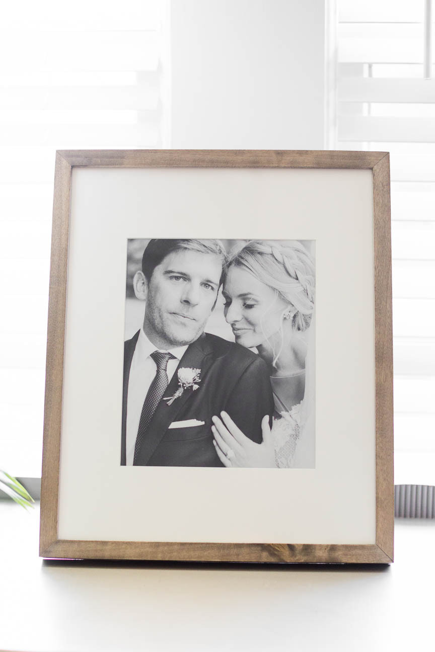framed and matted wedding portrait