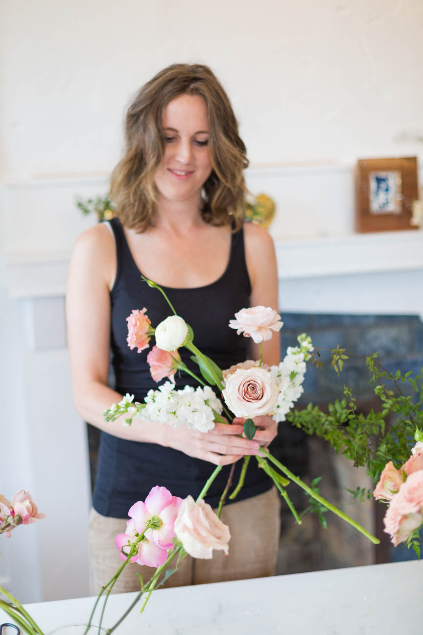 Willow Florals, florist arranges bouquet, Greenville sc florals