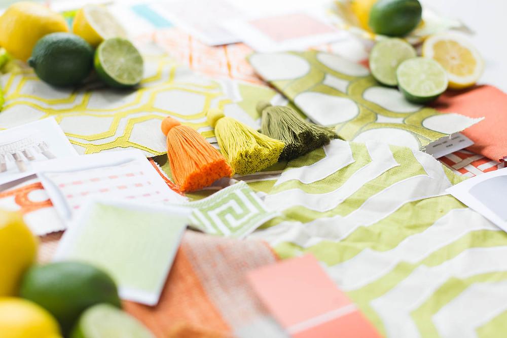 image of orange, green and yellow fabrics and tassles
