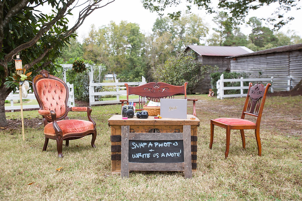 velvet seating and guest book table