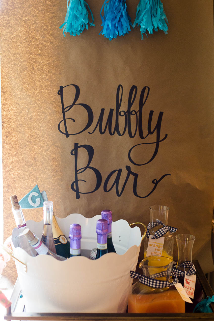 image of bubbly bar at bachelorette shower