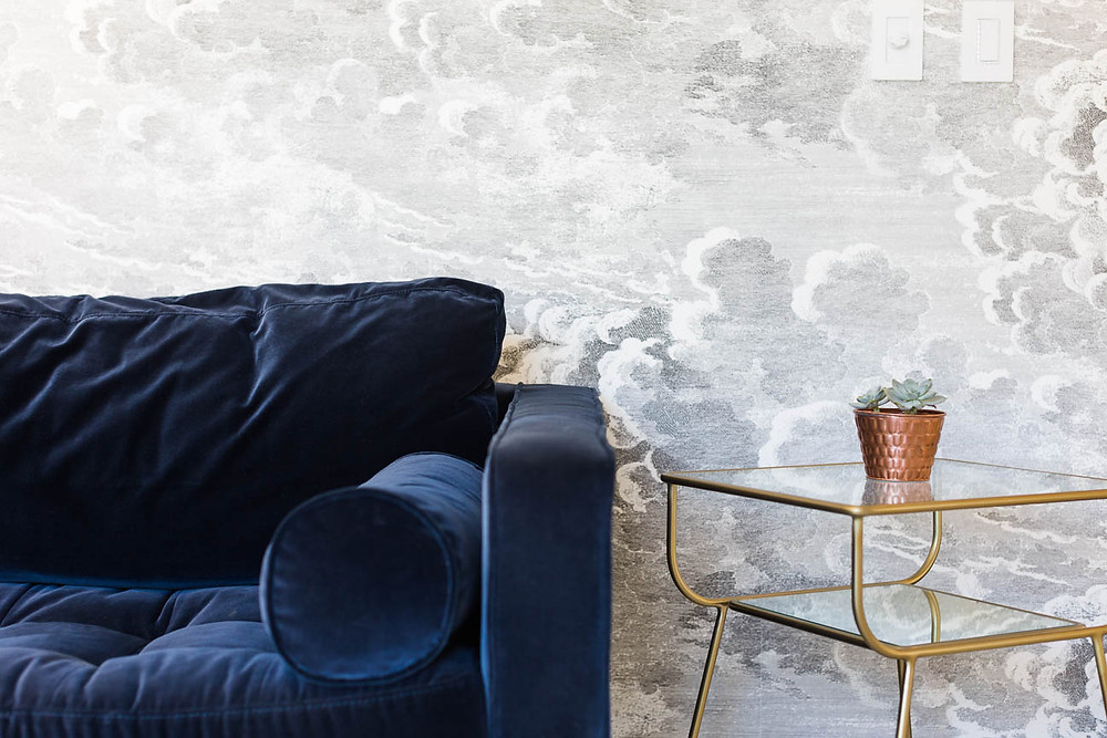 blue velvet couch and custom wallpaper in Greenville SC Business, interior photography