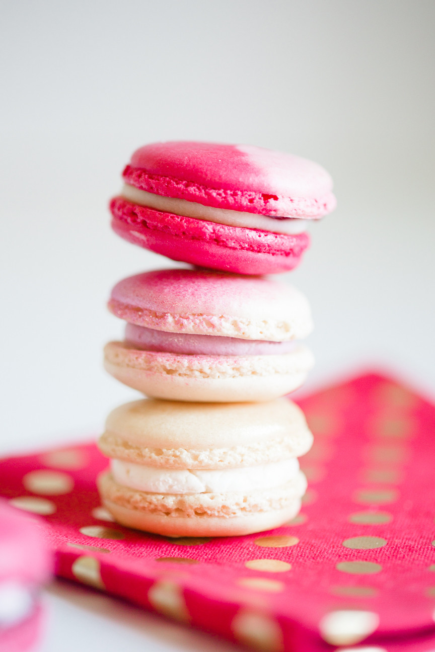 stack of pink macaroons for Valentine's Day, food photography, food styling