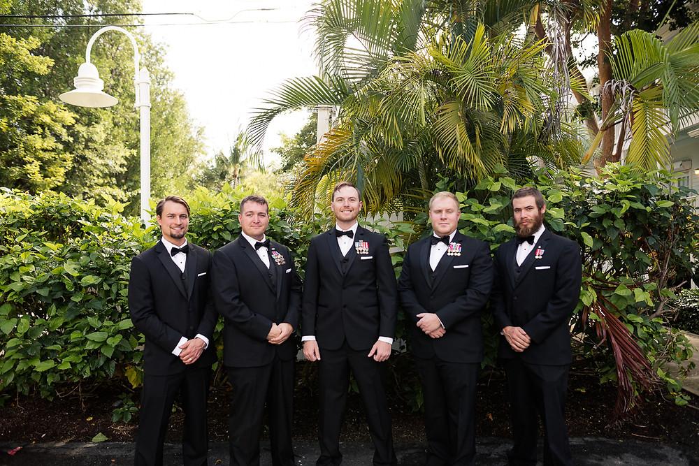 portrait of groom and his groomsmen before Florida Keys wedding, destination wedding, southern weddings, wedding photography