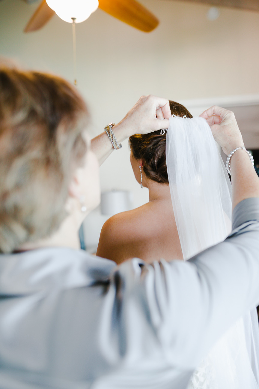 bride's mother puts in her veil, destination wedding, southern weddings, wedding photography