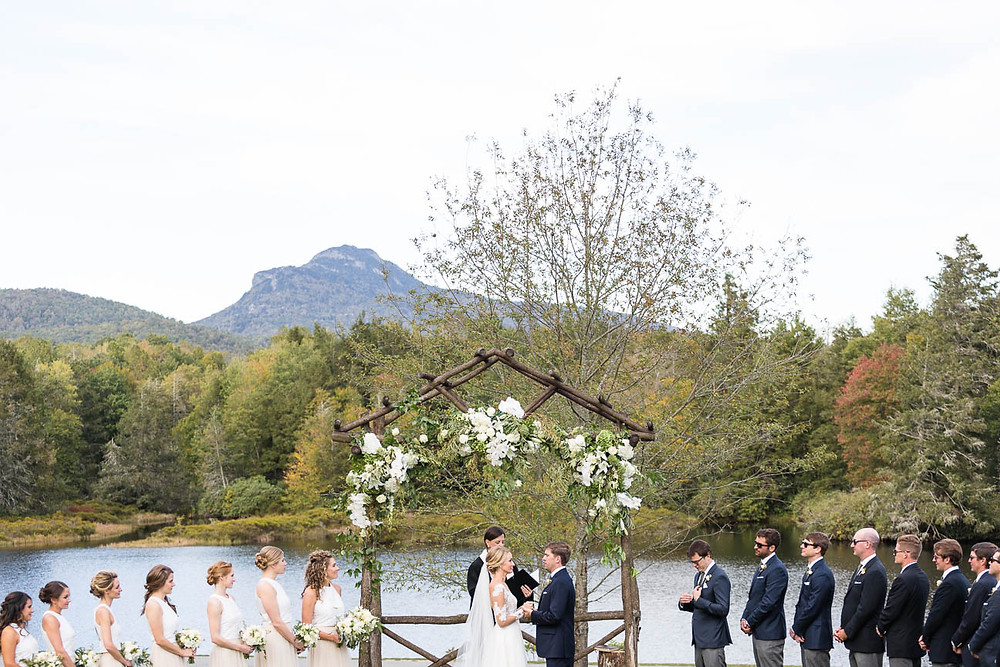 NC outdoor wedding ceremony on a lake