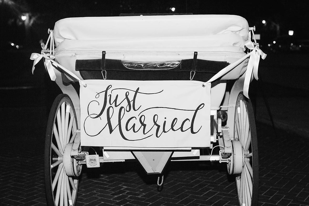 image of a horse and carriage with Just Married sign on the back