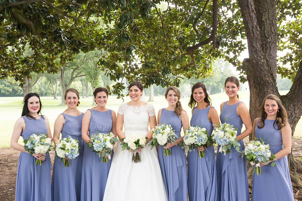 group of bridesmaids with the bride during a country club wedding in Memphis, TN