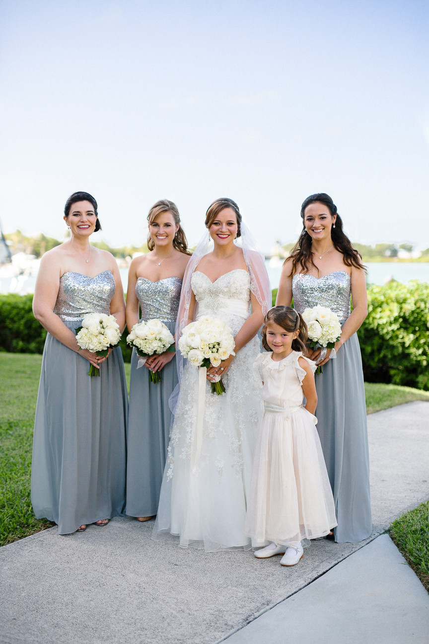 portrait of bridesmaids in front of water, destination wedding, southern weddings, wedding photography, FL wedding