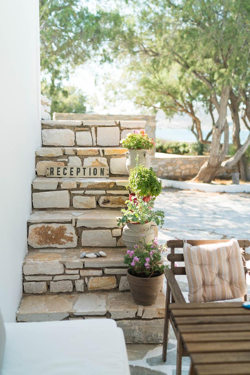 reception area at Almira Suites in Paros, Greece
