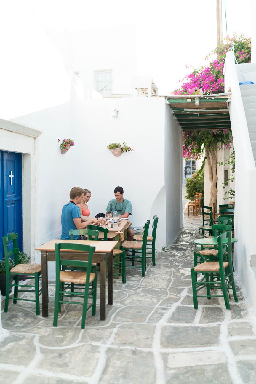 Al fresco dining at Palia Agora restaurant in Naoussa