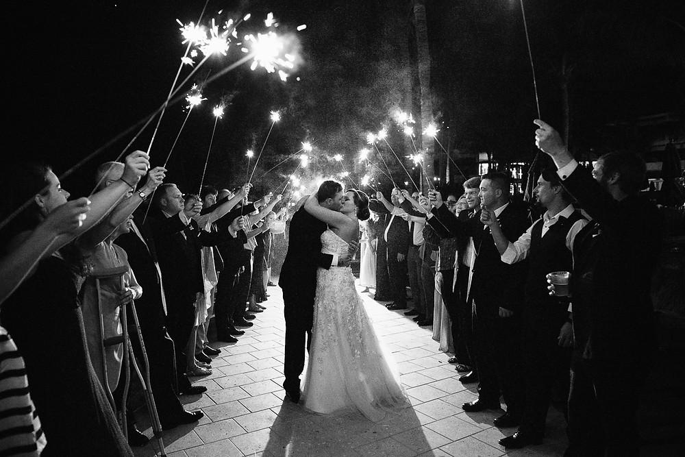 Sparkler departure at Hawkes Cay Resort wedding, Florida Keys Wedding, destination wedding, southern weddings, wedding photography