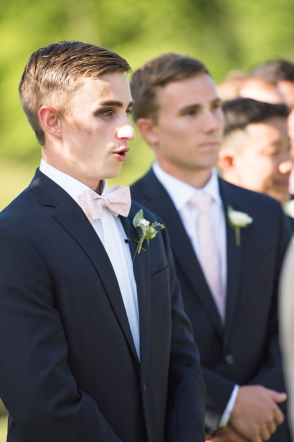 groom sees his bride for the first time on their wedding day