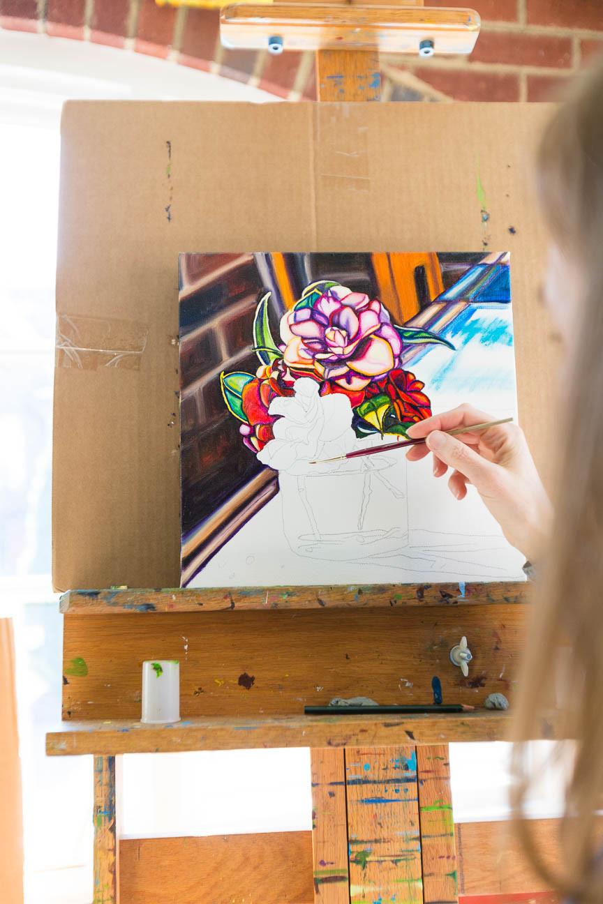 Flower painting by Marie Scott Art, Greenville SC artist