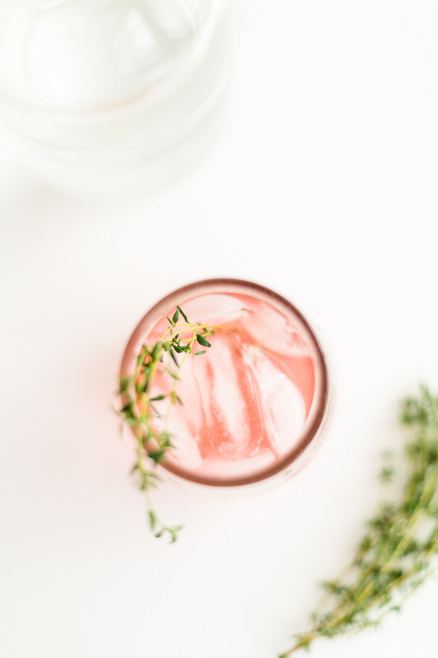 Blood Orange cocktail with thyme, food photography, food styling