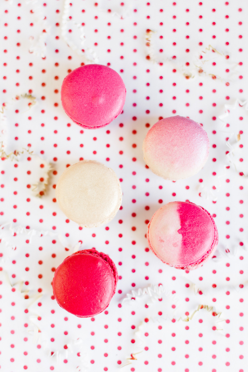 Pink Valentine's Day macaroons, food photography, food styling