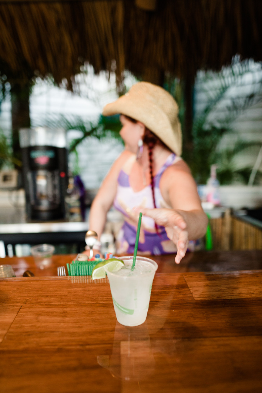 Bar tender at Eden House, Key West, FL, free happy hour daily