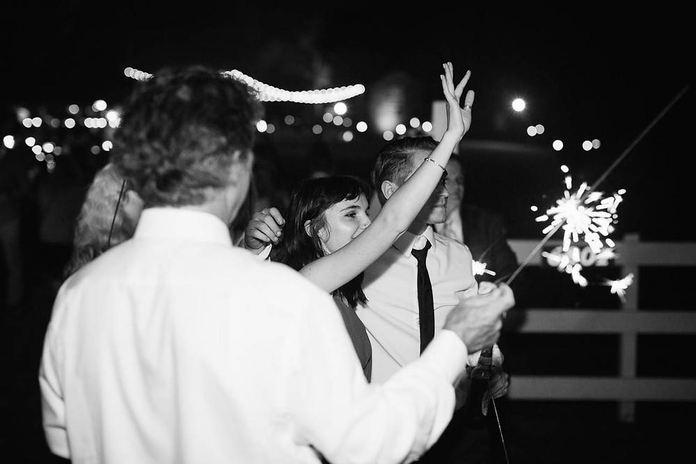 family says goodbye to newlyweds