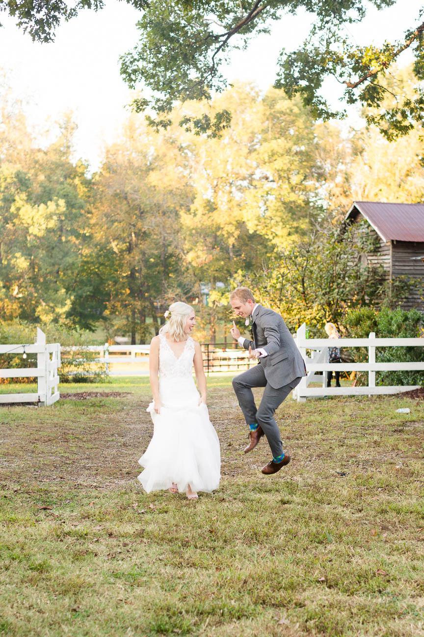 bride and groom dance into reception
