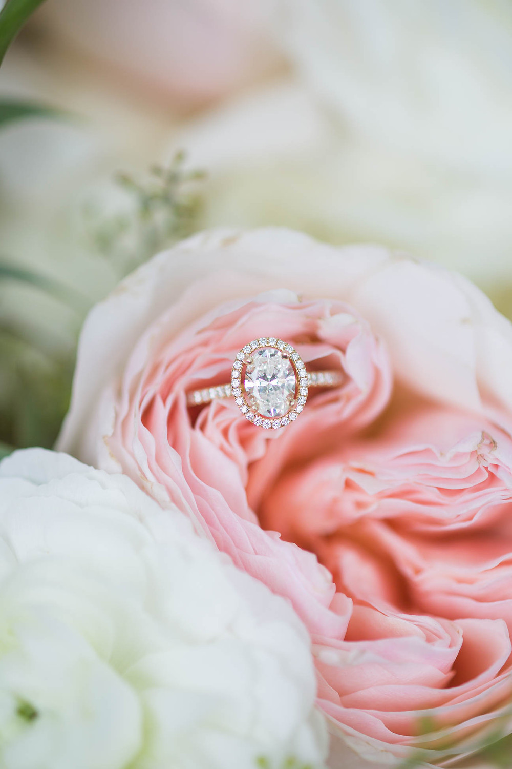 engagement ring in a pink peony, wedding details