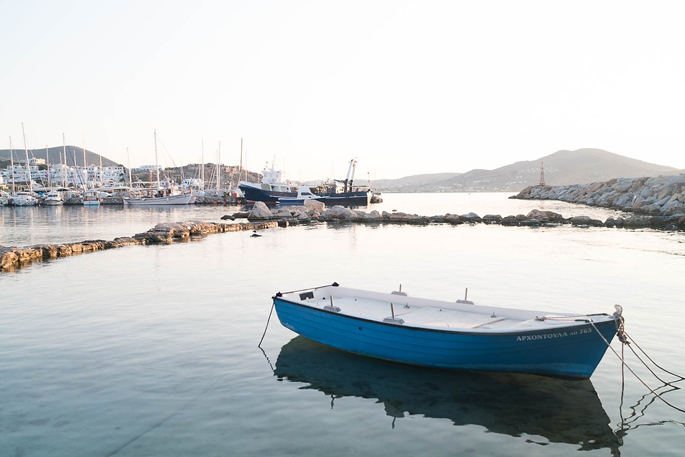 fishing boat in the Naoussa harbor on the Greek island of Paros