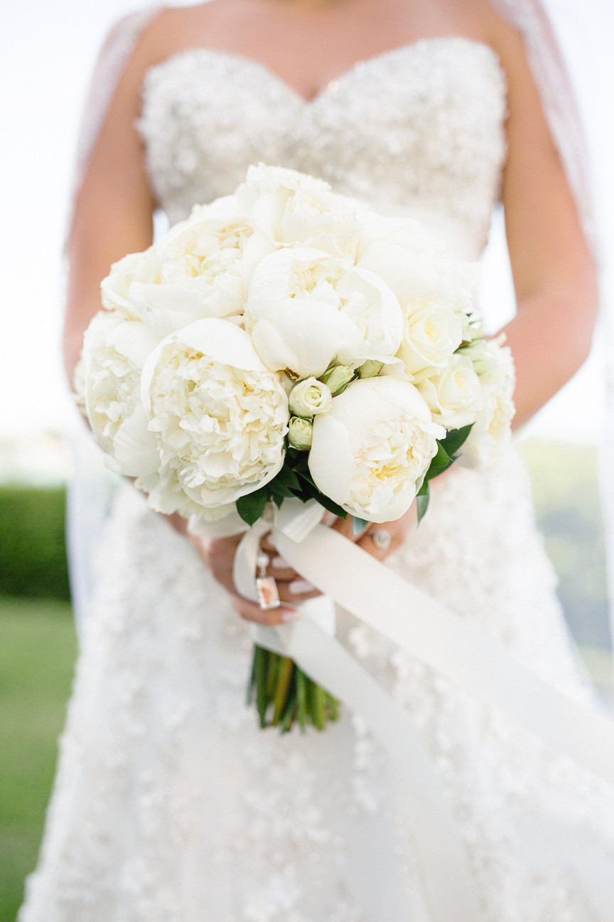 bride's bouquet, white peonies, destination wedding, southern weddings, wedding photography, detail shot