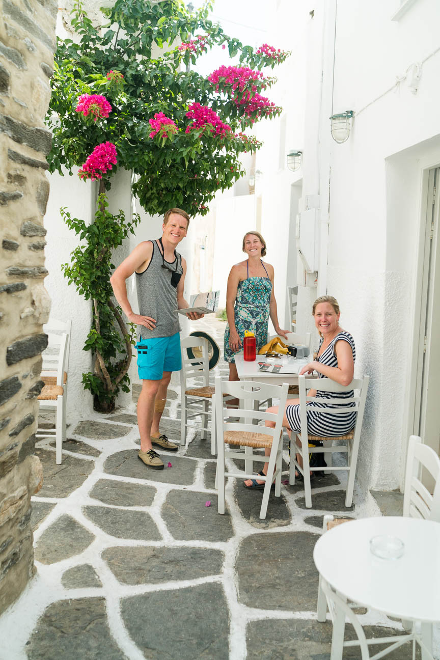 Al fresco dining in an alley on the island of Paros