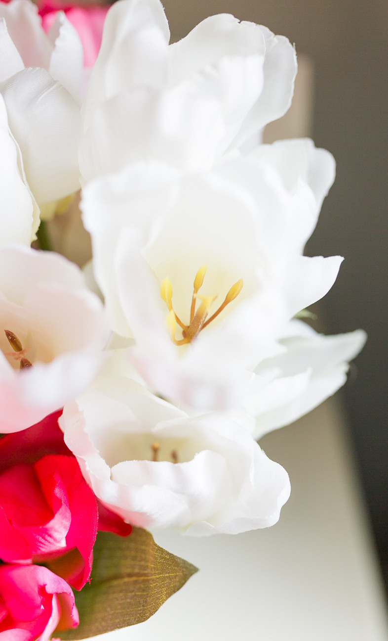 image of white faux tulips