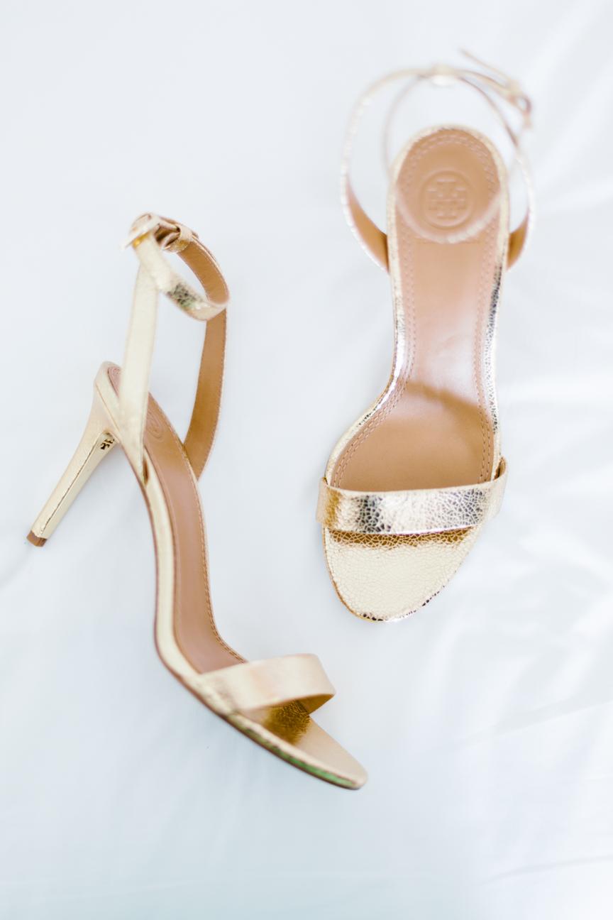 Bride's gold heels