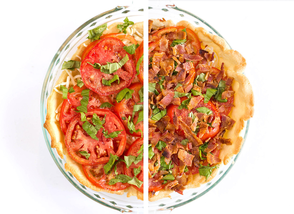 assembling a tomato pie for baking