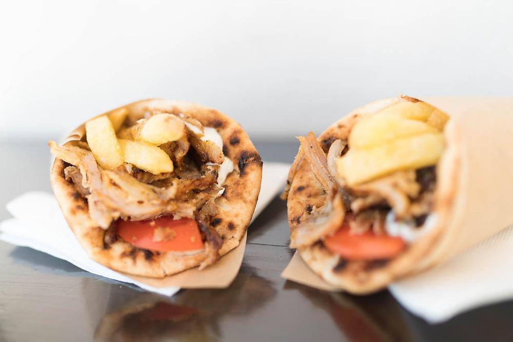 Gyros in Oia, Santorini, food photography