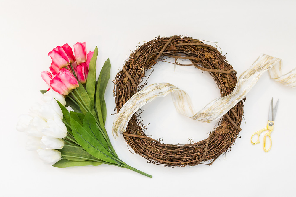 image of the supplies to make a spring wreath