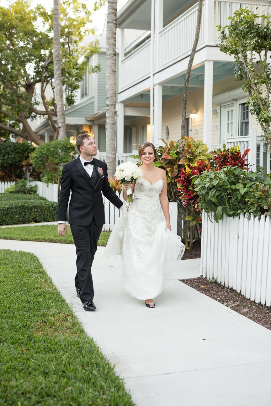 Bride and Groom walk together, Florida Keys Wedding, destination wedding, southern weddings, wedding photography