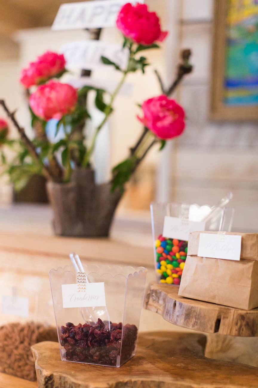image of trail mix station at glamping themed party