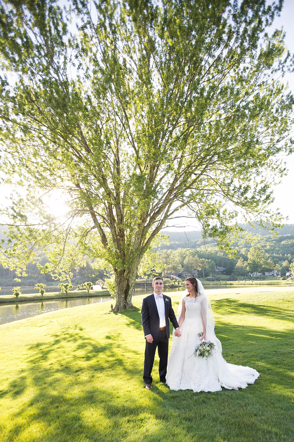 portrait of bride and groom on a golf course under a tree at Grandfather Golf and Country Club