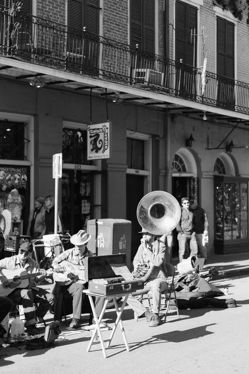 black and white portrait of street jazz musicians in New Orleans