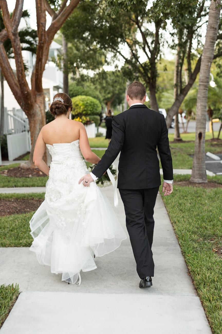 Portrait of Bride and Groom walking away, Florida Keys Wedding, destination wedding, southern weddings, wedding photography
