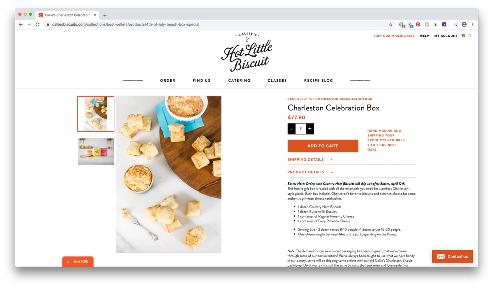 Callie's Biscuits Charleston Celebration Box